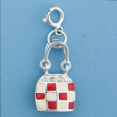 Genuine 925 Sterling Silver Enameled Handbag Charm set with Cubic Zirconia